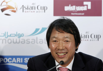 South Korea's national soccer team coach Cho attends a pre-match news conference for the Asian Cup soccer tournament in Doha