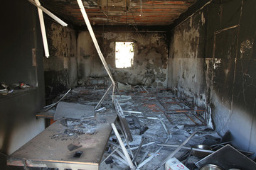 View shows the interior of a jail used by Islamic States fighters after it was captured by Libyan forces allied with the U.N.-backed government, in Sirte