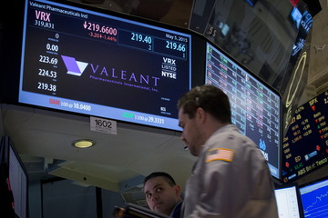 Valeant Pharmaceuticals International Inc, is seen on a screen at the post where it is traded on the floor of the New York Stock Exchange