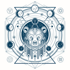 Vector illustration of a front view of a bear s head, geometric sketch of a tattoo, print with moon phases. Abstract ethnic tribal pattern.