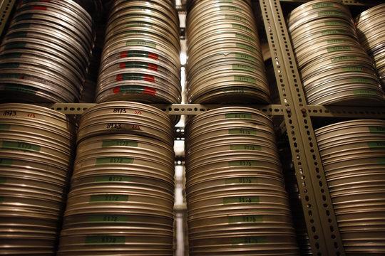 Reels of film are seen inside the Yugoslav Film Archive in Belgrade