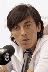 Tennis player Francesca Schiavone of Italy talks during a news conference held for Qatar ladies open in Doha