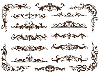 Vintage ornaments design elements floral curlicues white background curbs frame corners stickers. Borders, monograms and dividers patterns on a white background