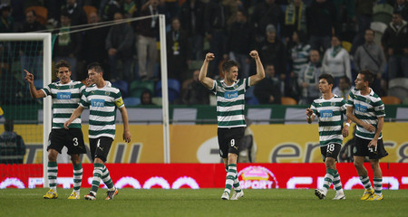 Sporting's Ricky van Wolfswinkel celebrates his goal against FC Zurich during their Europa League Group D soccer match at Alvalade stadium in Lisbon