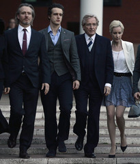 British actor Roache, who plays the character of Ken Barlow in the soap opera Coronation Street, leaves with his sons James and Linus, and daughter Verity from Preston Crown Court in Preston