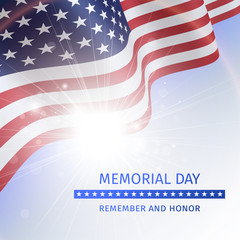 Memorial Day, Remember and Honor - poster with the flag of the United States
