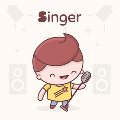 Cute chibi kawaii characters. Alphabet professions. Letter S - Singer