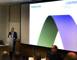 Cinram International Income Fund CEO Steven Brown speaks during the annual general meeting of shareholders in Toronto