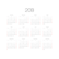 Vector calendar - Year 2018. Week starts from Sunday. Simple flat vector illustration with black numbers and letters on white background. Saturdays and Sundays highlighted by red.