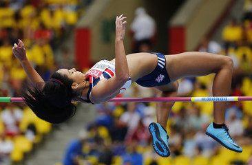Johnson-Thompson of Britain competes in the women's heptathlon high jump event during the IAAF World Athletics Championships at the Luzhniki stadium in Moscow