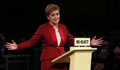 Scotland's First Minister Nicola Sturgeon launches the SNP manifesto for the Holyrood election, in Edinburgh