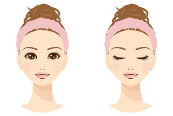 美容 女性 顔 ヘアバンド