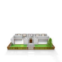 3d interior rendering of empty home apartment