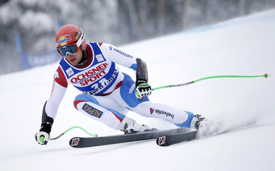 Kueng of Switzerland skis to first place during the Men's World Cup Super-G ski race in Beaver Creek