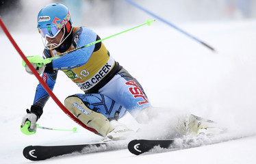 Ted Ligety of the U.S. skis to the fifth best time in the first run of the men's World Cup slalom in Beaver Creek