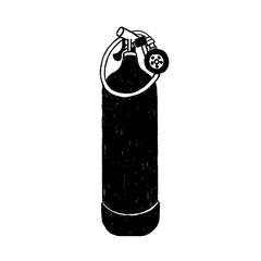 Hand drawn diving oxygen tank vector illustration.