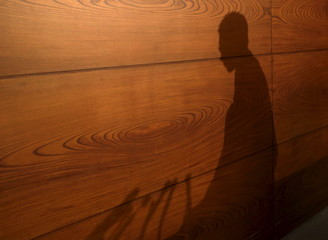 A shadow of Bank of Japan Governor Kuroda is seen as he arrives at a news conference at the BOJ headquarters in Tokyo
