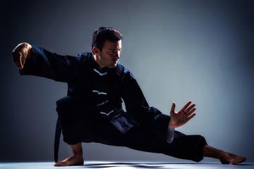 Man exercise Tai Chi indoor.