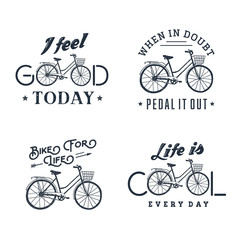 Hand drawn set of vintage labels with textured bicycle vector illustration and inspirational lettering.
