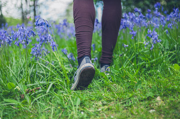 Feet of woman walking in meadow