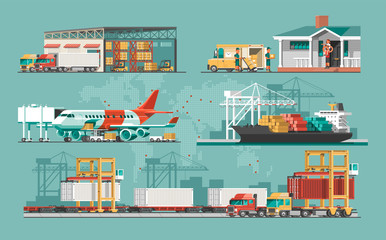 Delivery service concept. Container cargo ship loading, truck loader, warehouse, plane, train. Flat style vector illustration. Wall mural