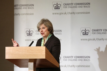 Britain's Prime Minister Theresa May speaks to members of the Charity Commision for England and Wales at The Royal Society in London