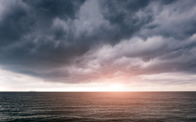 Sunrise morning in cloudy of rainy season .