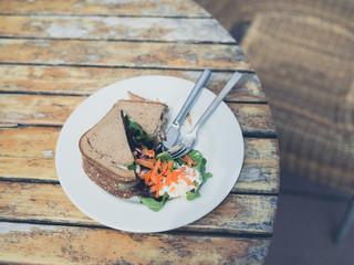 Sandwich on a plate outside
