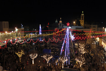 A general view shows celebrations for Christmas near the Church of the Nativity in West Bank town of Bethlehem
