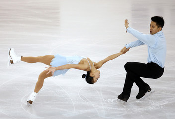 China's Sui and Han perform during the pairs free skating event at the ISU Grand Prix of Figure Skating final in Barcelona