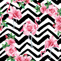 Wall Mural - Flamingo roses seamless pattern black white zigzag background