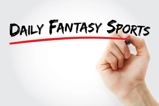 Hand writing Daily Fantasy Sports with marker, concept background