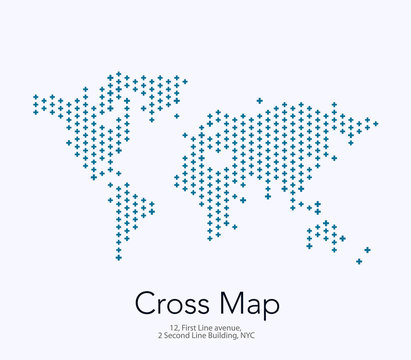 Vector world map with crosses for business templates, brochures