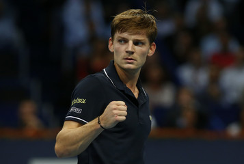 Belgium's Goffin reacts during his semi-final match against Coric of Croatia at the Swiss Indoors ATP tennis tournament in Basel