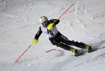 Thaler of Italy clears a gate during the men's slalom race at the FIS Alpine Skiing World Cup in Kitzbuehel