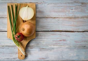 vegetable on wood