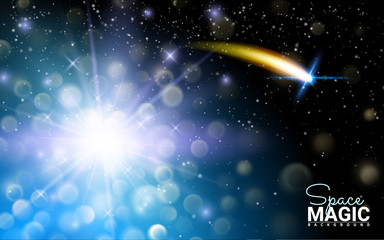 Neon Glittering Star Dust trail Sparkling Particles. Blue Space Sparkle Comet Tail. Effect Realistic Design Elements. Vector Illustration Modern Background