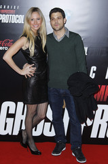 "Actor Jerry Ferrara and girlfriend Alexandra Blodgett arrive for the premiere of the film ""Mission: Impossible - Ghost Protocol"" in New York"