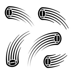 american football ball motion line symbol
