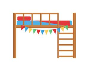 Comfortable bunk bed cozy baby room decor children bedroom interior furniture vector.