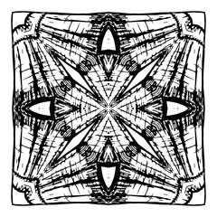Element for coloring book. Black and white mandala