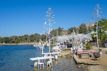 Bright scenic view of Turkish seaside on the Aegean coast of Bodrum, Turkey