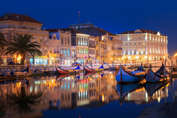 City of Aveiro in the north of Portugal by night