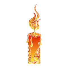 Isolated hand drawn outline colored candle light on white background. Ornament of curve lines.