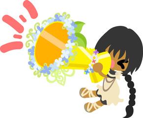 A cute girl and a megaphone of hydrangeas