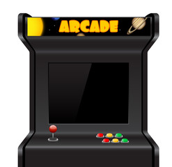 Arcade machine isolated on white, vector