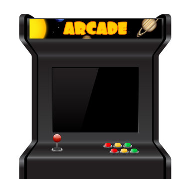 Arcade machine isolated on white, vector