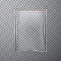 Transparent plastic bag with zipper, vector illustration