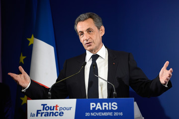 Nicolas Sarkozy, former French president and candidate for the French conservative presidential primary, reacts after the results in the first round of the French center-right presidential primary election at his headquarters in Paris