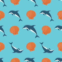 Dolphin and Seashell Seamless Pattern